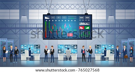 Forex Stock Exchange Graph Global Business. Successful team. Group of young business people working together. Big screen with Stock market trading graph and candlestick chart. Vector illustration