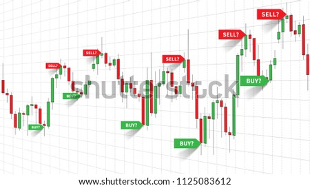 Forex Trade Signals vector illustration. Buy and sell signals (indices) of forex strategy on the candlestick chart graphic design.