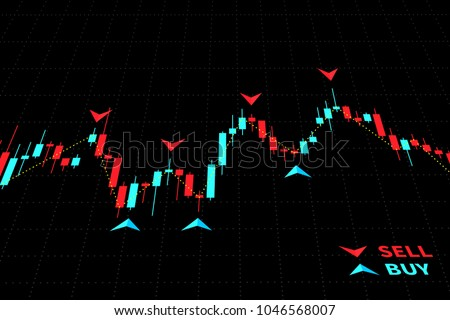 Forex Trading Indicators vector illustration on black background. Online trading signals to buy and sell currency on the forex chart concept. Buy and sell indicators for forex trade on the chart graph