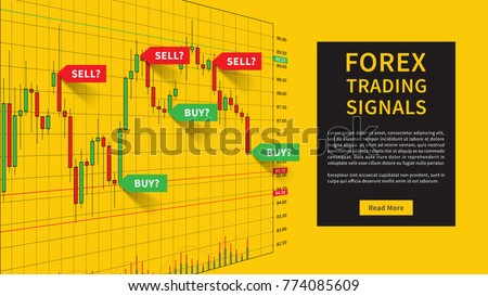 Forex Trading Indicators vector illustration on yellow background. Online trading signals to buy and sell currency concept. Buy and sell indicators for forex trade on the candlestick chart design