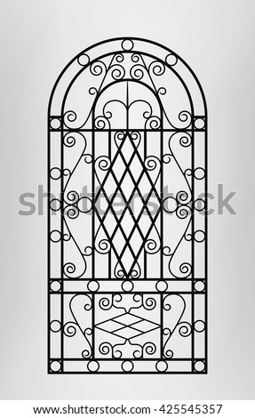 forged gate door icon vector