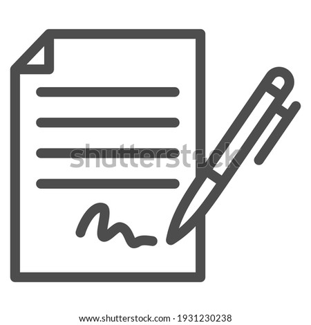 Forged signature line icon, Black bookkeeping concept, Fake contract sign on white background, Contract with signature and pen icon in outline style for mobile and web. Vector graphics