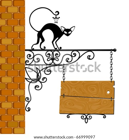 forged signboard with a black cat is isolated on a white background