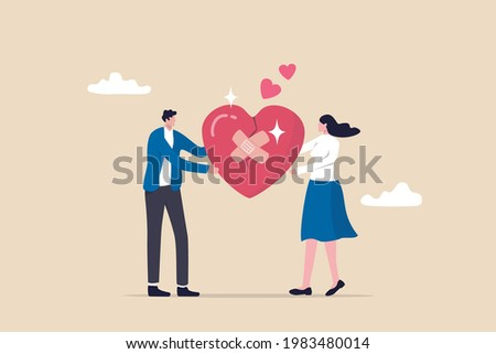 Forgiveness to keep relationship last long, togetherness or love couple concept, happy man and woman, husband and wife with bandage on broken heart shape as forgiveness symbol. Stock photo ©