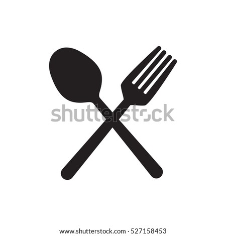 Fork and spoon crossed vector