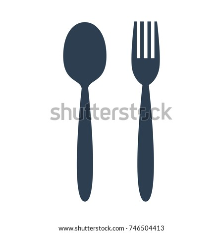 fork and spoon icon on white background. Vector illustration