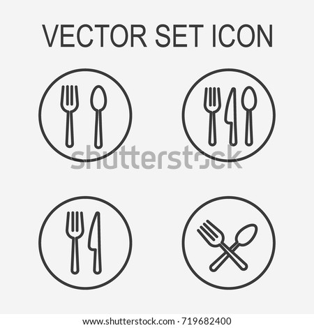 Fork and  spoon icon set