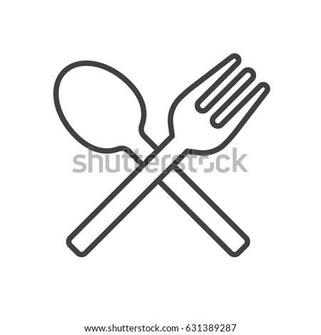 Fork and spoon line icon, outline vector sign, linear style pictogram isolated on white. Menu symbol, logo illustration. Editable stroke