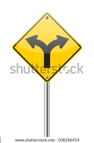 Fork in the road sign on white