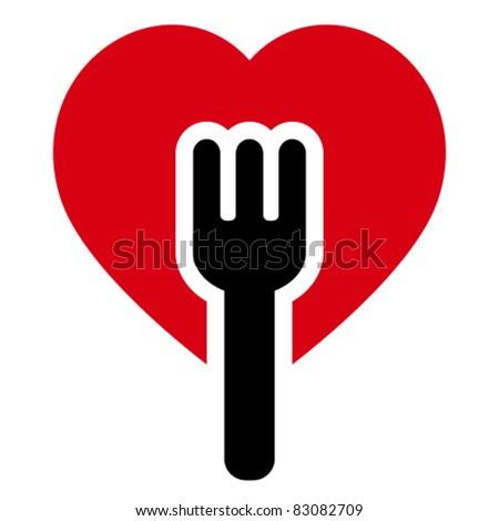 Fork into heart shapes tree