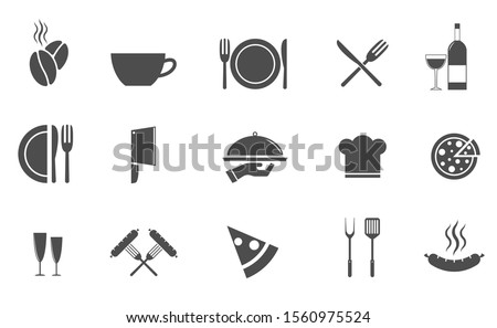 Fork, knife and plate icons. Restaurant and cafe symbol, Vector illustration