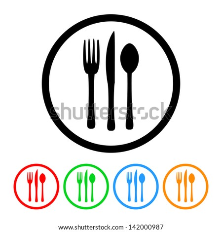 Fork Knife and Spoon Silverware Food & Restaurant Icon in Vector Format with Four Color Variations