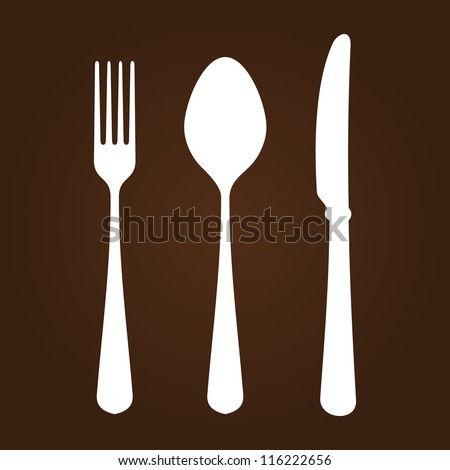 Fork Knife and Spoon - White symbols of cutlery on dark brown background - stock vector
