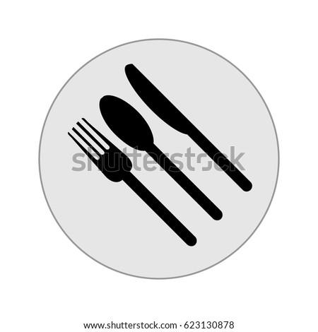 Fork, knife, plate and spoon icon