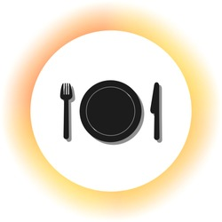 Fork, plate and knife. Dark icon with shadow on the glowing circle button. Illustration.