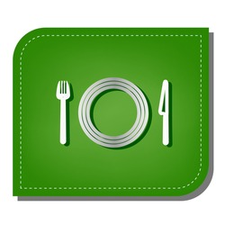 Fork, plate and knife. Silver gradient line icon with dark green shadow at ecological patched green leaf. Illustration.