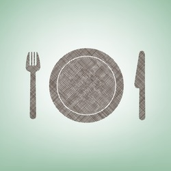 Fork, plate and knife. Vector. Brown flax icon on green background with light spot at the center.