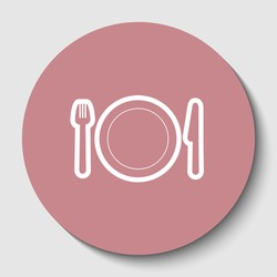 Fork, plate and knife. White contoured icon on rosy brown button with shadow. Illustration.
