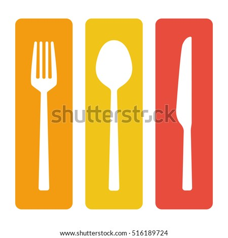 Fork spoon and knife cutlery set vector