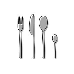 Fork spoon and knife sign. Black line icon with gray shifted flat filled icon on white background. Illustration.