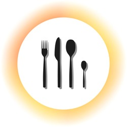 Fork spoon and knife sign. Dark icon with shadow on the glowing circle button. Illustration.