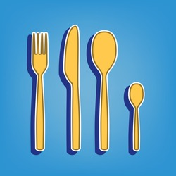Fork spoon and knife sign. Golden Icon with White Contour at light blue Background. Illustration.