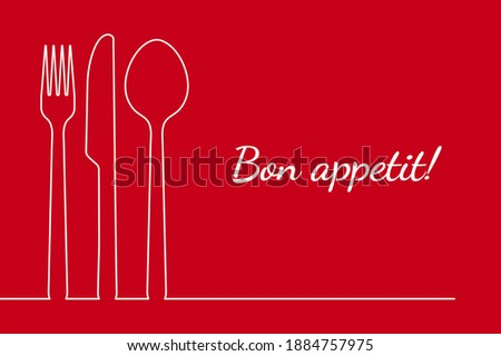 Fork spoon knife restaurant menu line design for dinner, lunch or breakfast card cover. Elegant vintage retro style. Outline cutlery isolated vector illustration with bon appetit single thin line draw Stock photo ©