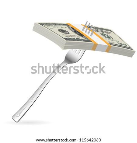 Fork with money. Illustration on white for design