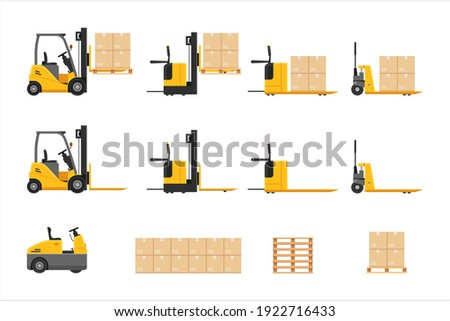 Forklift at work set with parcel stacking cardboard box rack depot and warehouse storage, merchandise, shipment and logistic management vector illustration isolated on white background