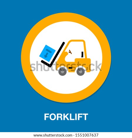 forklift icon, warehouse forklift, power lifting symbol, fork lift illustration