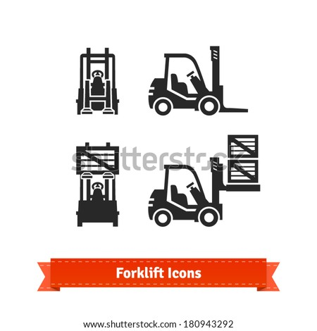 Forklift icons set