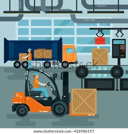 forklift inside factory cargo
