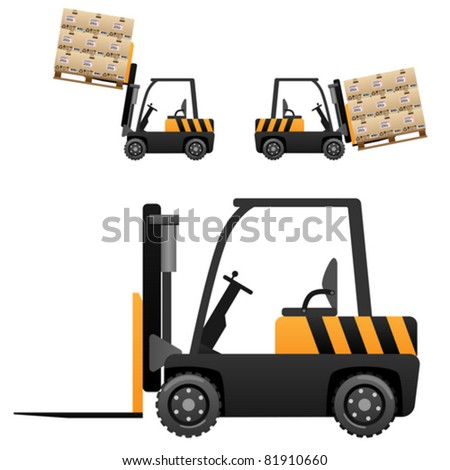 Forklift loader with boxes (vector illustration isolated on white background)