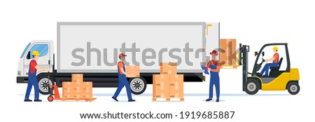 Forklift loading pallet boxes into truck. Warehouseman with checklist. Electric uploader loading cardboard boxes in delivery car. Logistic shipping cargo. Vector illustration in flat style