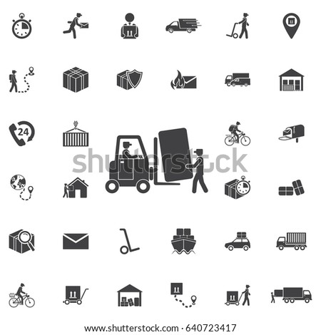 forklift truck load with box. Set of Post delivery icons