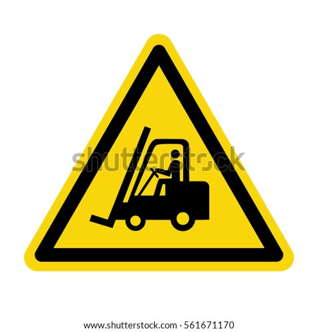 Forklift warning sign, vector, Illustration