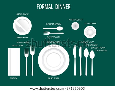 Formal dinner place settings. Dinner table set. Set for food and drink. Dinner  sc 1 st  Vecteezy & Dinner Table Setting - Download Free Vector Art Stock Graphics u0026 Images
