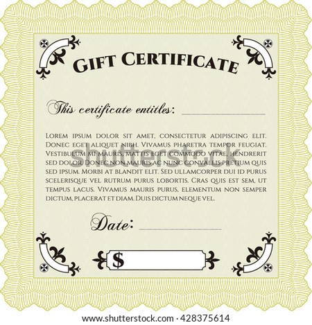 Formal Gift Certificate. Customizable, Easy to edit and change colors. Complex background. Lovely design.