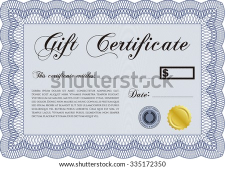 Formal Gift Certificate. Elegant design. Customizable, Easy to edit and change colors.With background.