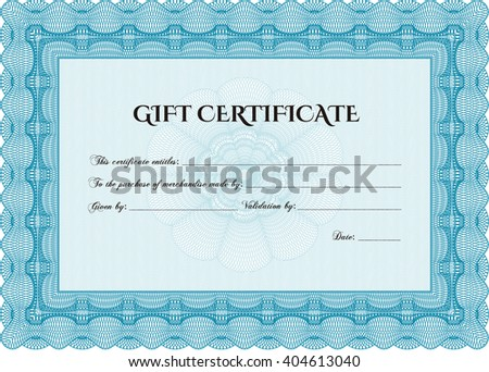 Formal Gift Certificate. Lovely design. Complex background. Customizable, Easy to edit and change colors.