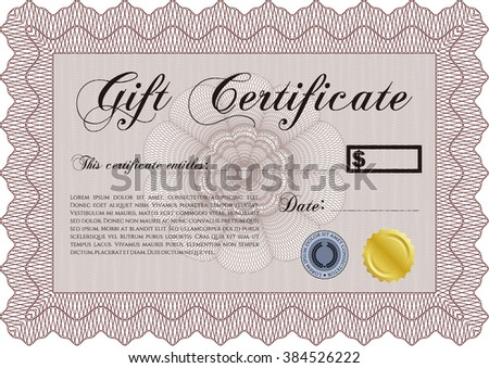 Formal Gift Certificate. Lovely design. Customizable, Easy to edit and change colors. Complex background.