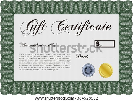 Formal Gift Certificate template. Vector illustration. Elegant design. With guilloche pattern and background.