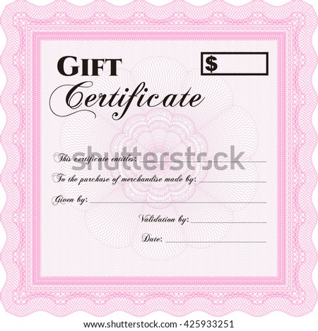 Formal Gift Certificate template. With guilloche pattern. Vector illustration. Elegant design.