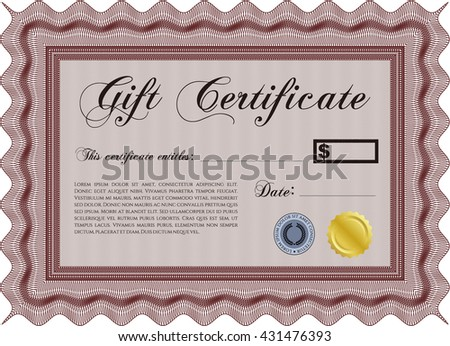 Formal Gift Certificate. With quality background. Border, frame. Lovely design.