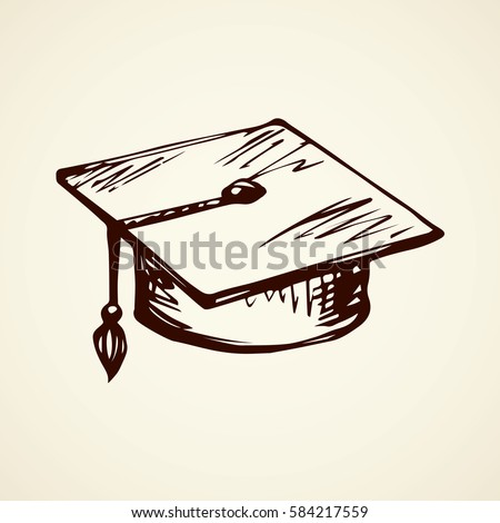 Formal high completion old bonnet design isolated on white backdrop. Freehand outline ink hand drawn picture logo sketchy in art scribble retro style pen on paper. Closeup top view with space for text