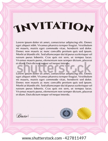 Formal invitation. Good design. Customizable, Easy to edit and change colors. With complex background.
