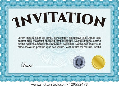 Formal invitation. With background. Customizable, Easy to edit and change colors. Good design.