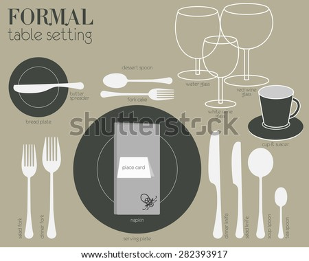 FORMAL TABLE SETTING Formal dining table setting with full equipped utensil are decorated in modern style & Flat Dinner Table Setting Vector - Download Free Vector Art Stock ...