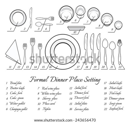 Setting A Dinner Table dinner table setting vector - download free vector art, stock