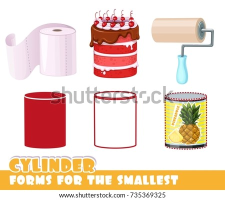 Forms for the smallest. Cylinder and objects having a cylinder shape on a white background developing game